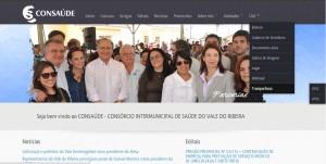 Home do CONSAÚDE possui link com acesso a prestação de contas.