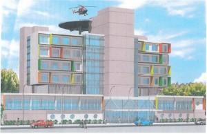 Imagem ilustrativa do novo prédio anexo do HRLB, segundo o projeto dos técnicos da Secretaria de Estado da Saúde (SES).